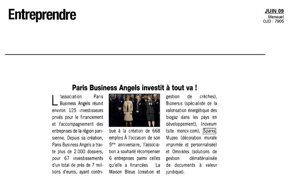 Brûleur éthanol: Sparxs grand prix du jury paris business angel